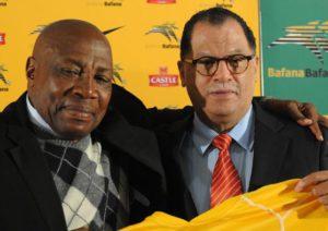 Bafana Bafana coach Shakes Mashaba with Danny Jordaan during the Safa press conference in Nasrec south of Johannesburg. Photo: Dumisani Sibeko